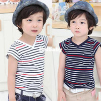 Cheap Wholesale - 2013 summer male female child clothing child baby boy stripe short-sleeve T-shirt vesseled top 990