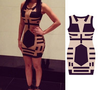 Casual Dresses Round Tea Length 2014 Women Celebrity Midi Bodycon dress, sleeveless sexy party bandage dress, See Through club Print Dress