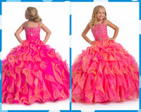 Cheap Girl's Pageant Dresses 2014 Spaghetti Organza Ball Gown Flower Girl Gowns Sequins Beads Tiers Layers Hand Flowers Dress Floor-Length Fall