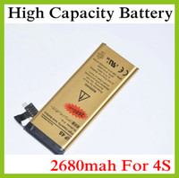 Wholesale 100pcs AAAAA Quality Newest High Capacity Battery mah Gold Replacement Li ion Battery for iPhone S GS Battery In stock