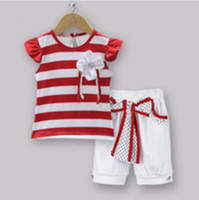 striped pants clothing - Kids Clothing Set Red Striped T Shirt With Flower And White Cotton Pants Halloween Baby Girls Suit For Children