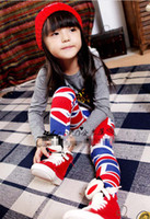 Wholesale New Spring Girls Leggings Pure Cotton England Flag Tights Skinny Pants Girl s Casual Banner Clothes C0952