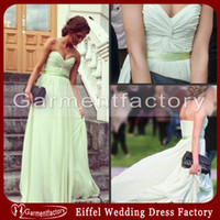 Wholesale Chiffon Mint Bridesmaid Dresses UK Hot Sales Sweetheart Neckline A line Sweep Train Cheap Prom Dresses
