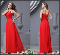 Wholesale DN Royal Red Colorful Stores Prom Dresses Spaghetti Straps Ruched Zipper Empire Floor Length Chiffon Girls Sexy Prom Gowns Under Dollars