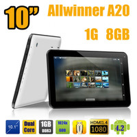 Wholesale 10 inch Allwinner A20 Dual Core G Ram GB ROM Dual Camera HDMI Android Jelly bean GHZ Tablet PC Skype Google play store inch quot
