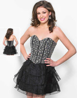 Cheap Lovely New Beaded Sweetheart Neckline Short Homecoming Dress Organza Tiers Mini A-line 2014 Wow Prom Cocktail Dresses Gowns Custom Made
