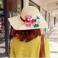 Wide Brim Hat 8colors mix  Plain Dyed Flower Straw Hats Caps For Women 8Colors Mix Fashion 5pcs Hot Sales Lot Free Shipping 140218C18