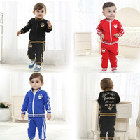 Wholesale 4 set New Arrivals Baby Kids Toddler Activewear Crown Cotton Casual Sweat Suit Sports Clothing Clothes For Spring Autumn