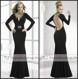 Wholesale 2014 Sexy New Black Long Sleeves Jersey Mermaid Evening Dresses Gold Beaded Stunning Backless Floor Length Prom Gowns W320