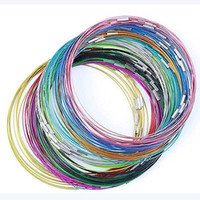 Unisex wire choker - 100PCS Inch MM mix color Stainless Wire Cable Steel Chain Cord Screw Clasp Necklace Jewelry Findings