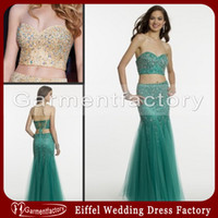 Wholesale Vogue Prom Dresses Sexy Mermaid Sweetheart Neckline Lace up Back Floor Length Sparkly Beaded Champagne Emerald Mesh Two Piece Dresses
