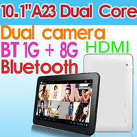 Wholesale 10 inch Allwinner A23 Dual Core Android HDMI Bluetooth Tablet PC GB DDR3 GB Wifi Dual camera Skype Youtube Support A20