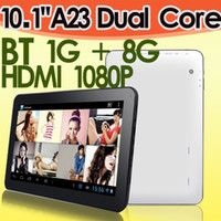 Wholesale Dual Core inch A23 A20 HDMI Android Bluetooth Tablet PC GB GB Allwinner Wifi Dual camera Skype Youtube Support Brand new