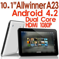 Wholesale 10 inch A23 A20 HDMI Android Bluetooth Dual Core Tablet PC GB GB Ghz Allwinner Wifi Dual camera Skype Youtube Brand new
