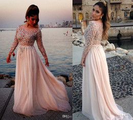 Wholesale 2014 Gorgeous Crystal Beaded Elie Saab Prom Dresses Sheer Scoop Neck Long Sleeves A Line Floor Length Chiffon Evening Gowns Pageant Dress