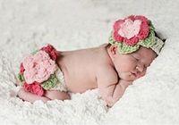 Unisex Summer Crochet Hats Newborn Baby Girls Handmade Flowers Headband + Diaper 2pcs Baby Photography Props Outfits Infant Girl Crochet Costume B2824