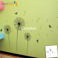 Wholesale 114 CM Larger Butterfly Flying In Dandelion bedroom setting wall Aestheticism Style Wall Stickers PVC Wall Decals ZY032