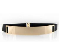 Wholesale 2 piece women s metal plated metallic gold mirror elastic belt customer special order