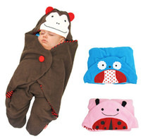 Wholesale 2014 New Unisex Newborn Baby Sleeping Bags Fleabag Infant Cute Owl Monkey Ladybug Blankets Kids Cartoon Swaddle