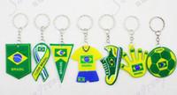 Wholesale ornament Brazil s World Cup team logo key PVC key chain customized promotional sponge pendant