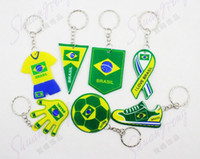 Wholesale Brazil s World Cup team logo key PVC key chain customized promotional sponge pendant