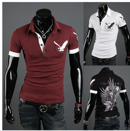 Wholesale New arrival The new men s British eagle printed shirts with short sleeve polo shirts size M XXL