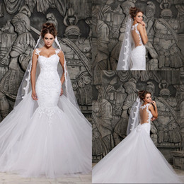 Sexy Luxury Backless Lace Sheer Tulle A-line Wedding Dresses Covered Button Spaghetti Straps Winter Bridal Evening Gown