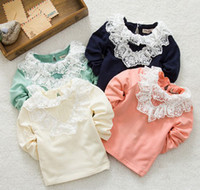Cheap Spring Children Clothing Sweet Cute Girls TShirts Long Sleeve Pure Cotton Lace Gauze Round Collar Tee Tops Child Girl's Kids T Shirts C0959