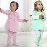 Cheap 4 set lot + New Arrivals 2014 Baby Girl Clothing Cotton Beautiful Sweet Lace Group Dress Leisure Suit Outfits For Spring Summer Autumn
