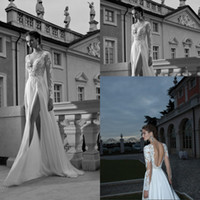 Cheap 2014 A Line Sheer Wedding Dresses Berta Bridal Plunging V Neck Illusion Long Sleeve Backless Side Slit Lace Chiffon Formal