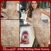 Wholesale Nude Sheer Beaded Dress New Fashion High Neck Sheat Short Champagne Lace Short Evening Dresses