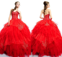 Cheap Hot sale red tulles Quinceanera dresses sexy backless sweetheart embroidery floor length ball gowns with little jacket bolero BO4502