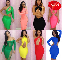 Wholesale 8 Styles Coloful New Designer Women Hollow Bodycon Party Neon Dress Sexy Club Wear Backless One Shoulder Bandage Dresses