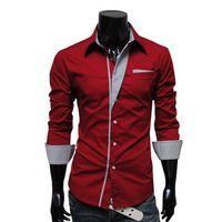 Wholesale NEW Mens Fashion Cotton Designer Cross Line Slim Fit Dress man Shirts Tops Western Casual M L XL XXL