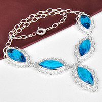 Lockets Bohemian Unisex New 2014 Women's Perfume Charms Shining Blue Topaz Baby 925 Sterling silver Necklace CN0487