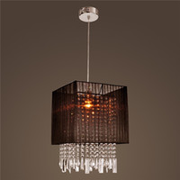 Cheap Stylish Pendant Light with Black Fabric Shade Modern Crystal LED Chandelier Ceiling Light Fixture Lighting Crystal Chandelier Pendant Lamps