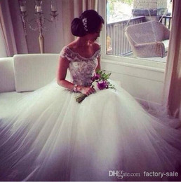 Wholesale 2014 Vintage Backless Wedding Dresses A Line Off The Shoulder Capped Sleeves Sheer Beaded Ruffles Tulle Court Train Bridal Gowns BO4126
