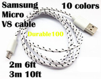 Wholesale Micro V8 USB Braided Charger sync data transfer Cable for Samsung Extension Woven M ft M ft Sync Nylon Line pin Cords