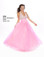Cheap Romantic New Beaded Halter Neck Long Party Dress Pink Tulle Corset Floor Length A-line Wow Prom Dresses Gowns 2014 Hot Sale