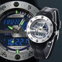Wholesale OHSEN Military Dive LCD Dual Digital Core Watch Mens Multifunctional Silicone Band Sports Watch Luminous Hands