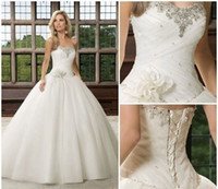Wholesale 2014 New Stunning White Ivory Strapless Wedding Dress with lace applique crystal beads and lace up A line floor length wedding bridal gowns