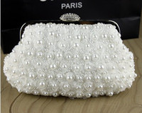 Wholesale 2014 Fashion Cheap Top Selling In Stock No Risking Wedding Accessories pearls Floral Party Evening Prom Hand bags Bridal Hand Bags BH12