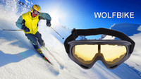 Wholesale Unisex WOLFBIKE UV400 Glasses Snowmobile Motorcycle Ski Goggles Eyewear Protective Glasses Lens Outdoor sports Snow Sports Snowboard kuo