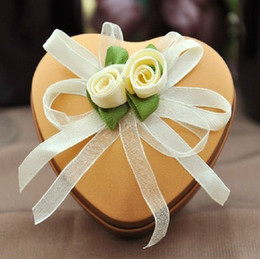 New Arrival! Wholesale 20 pcs lot tinplate champagne Heart shape candy box chocolate box favor box for wedding and festival party