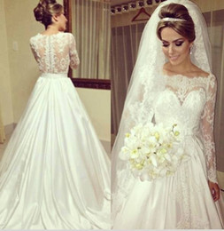 Top Selling A Line Scoop Long Sleeve Wedding Dresses Chapel Train White Elastic Wedding Gowns Lace Design Bridal Dresses