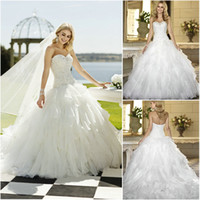Wholesale 2014 Lovely White Ball Gown Wedding Dresses Organza Sweetheart Lace Up Back Crystal Beaded Bodice Ruffles Bridal Gowns