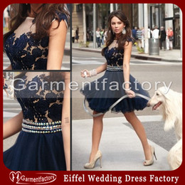 Wholesale Wedding Guest Dresses Hot Sales Nude Sheer Top Navy Blue Lace and Tulle Short Wedding Party Dresses