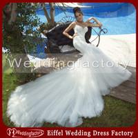 galia lahav - 2014 Galia Lahav Mermaid Bridal Gown White Backless Spaghetti Straps Beading Pearls Tulle Wedding Dress with Chapel Train