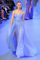 Cheap 2014 New Turquoise Elie Saab Chiffon Sweetheart Prom Dresses High Low Sheath Ruched Bodice Strapless Evening Gowns Bridesmaid Dresses