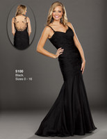 Cheap Sexy Fashion Black Beaded Spaghetti Straps Long Evening Dress Pleated Satin Floor Length Mermaid Illusion Backless Wow Prom Dresses Gowns